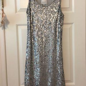 Anthropologie Mise en Scene beaded silver dress